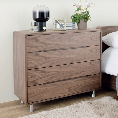 Notch wide chest of drawers walnut