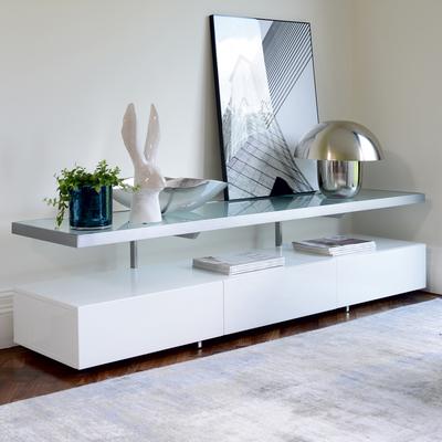 Floating shelf TV unit white
