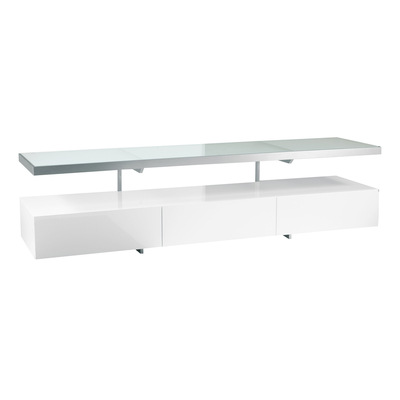 Floating shelf TV unit white