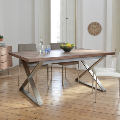Crossed leg walnut extending dining table