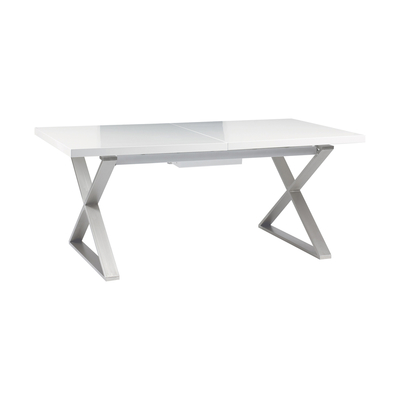 Crossed leg gloss extending 6-10 seater dining table brushed steel leg white