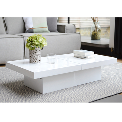 Two block storage coffee table white