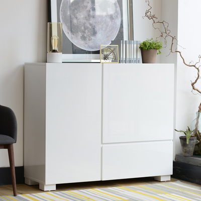 Square gloss sideboard white