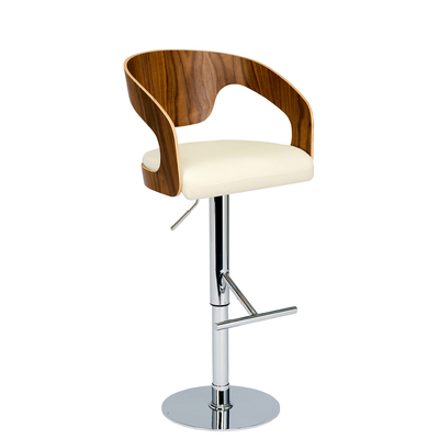 Curved padded bar stool off white