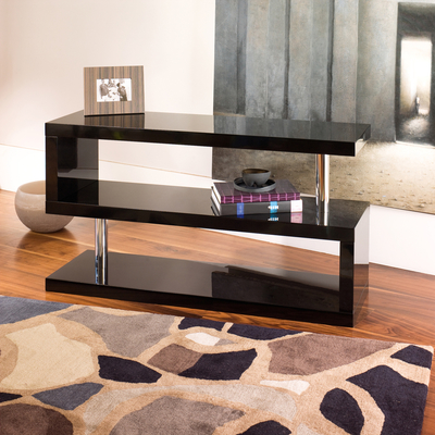 Contour TV unit with shelving black
