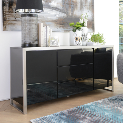 Steel frame gloss sideboard black