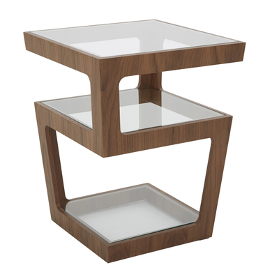 Triple level side table walnut