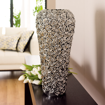 Rose ceramic vase chrome