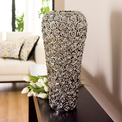 Rose ceramic vase large chrome