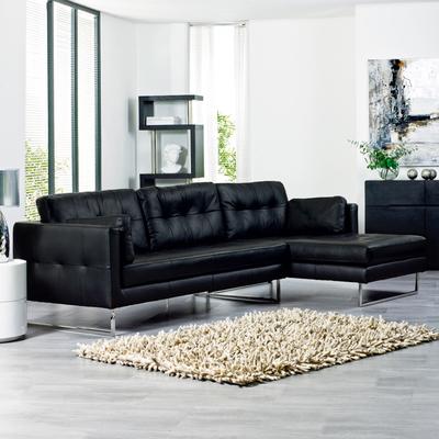 Paris leather right hand corner sofa black