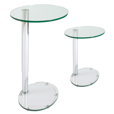 Tomasz adjustable oval side table clear