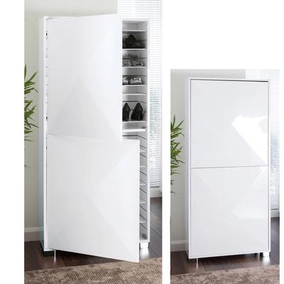 Space gloss shoe cupboard white dwell - Shoe cabinet for small spaces concept ...