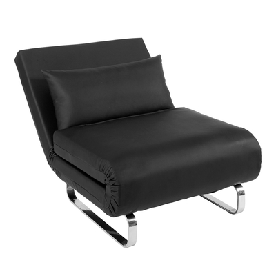 Stylus faux leather chair bed black