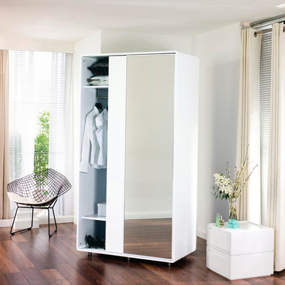 Malone sliding mirror door wardrobe white