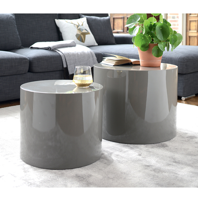 Circular gloss stacking side tables stone