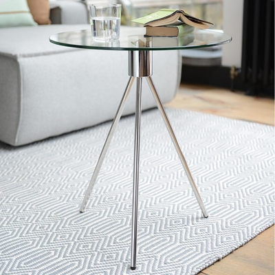 Tripod glass side table clear