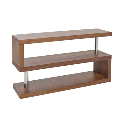 Contour TV unit with shelving walnut