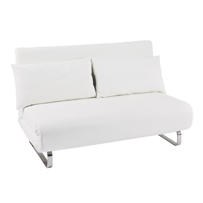 Delightful Stylus Faux Leather Sofa Bed White