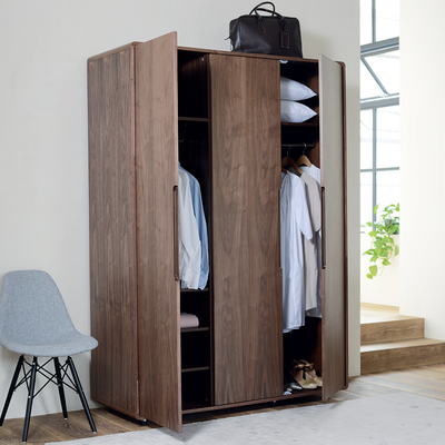 Notch wardrobe three door walnut