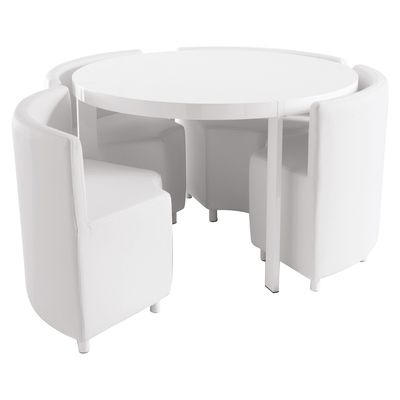 Rotunda 4 seater dining table set white
