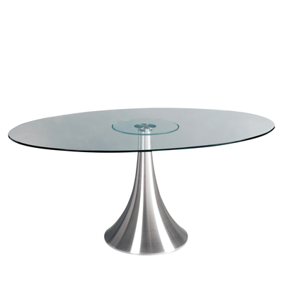 Oval glass 6 seater dining table