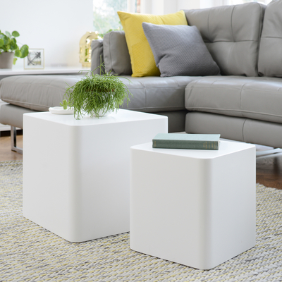 Square stacking side tables white