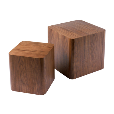 Square stacking side tables walnut