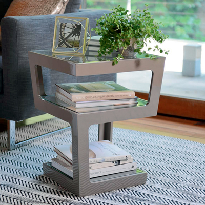 Triple level gloss side table stone