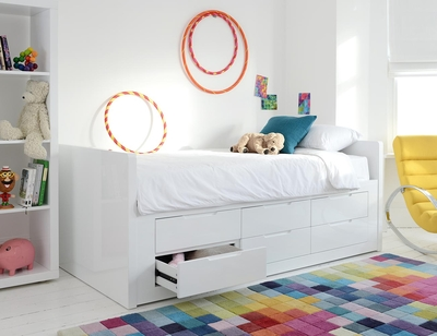 Buddy 6 drawers storage bed white