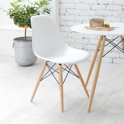 Eiffel dining chair with beech legs white