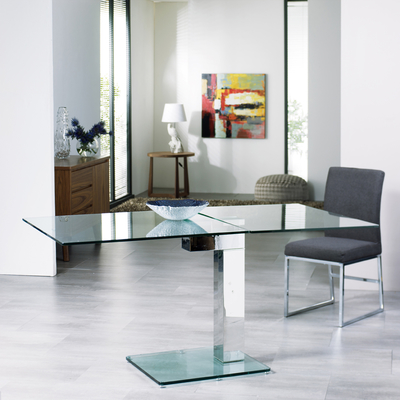Click To Zoom Enzo Square Extending Dining Table Clear