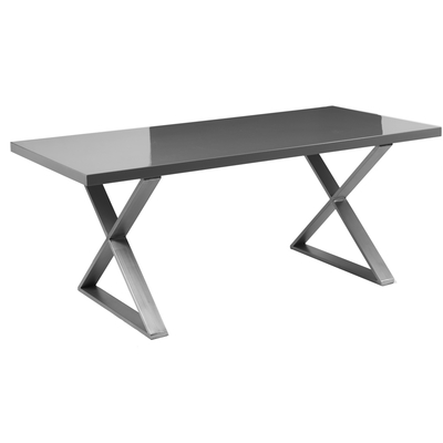 Crossed leg gloss 6 seater dining table brushed steel leg stone