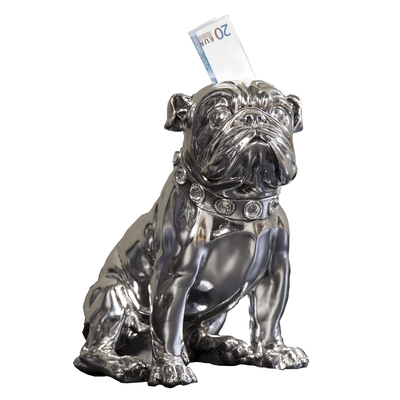 Sitting bulldog silver money bank