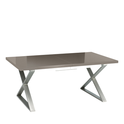 Crossed leg gloss extending 6-10 seater dining table brushed steel leg stone