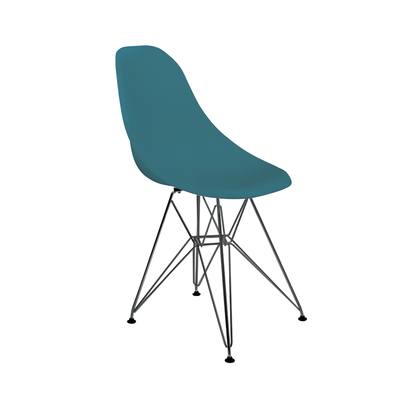 Eiffel dining chair with metal legs teal