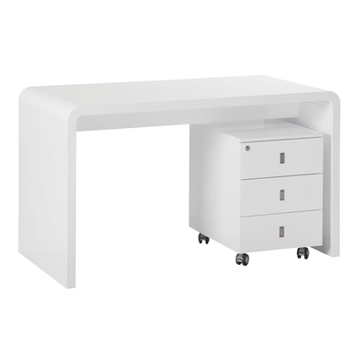Hudson desk with drawers white