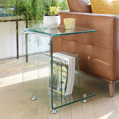 Glass magazine side table