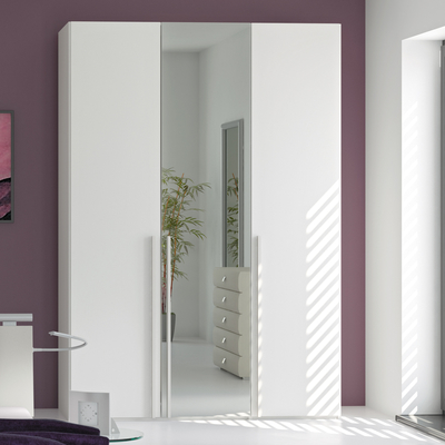 Click to zoom - Loft three door wardrobe white glass with mirror