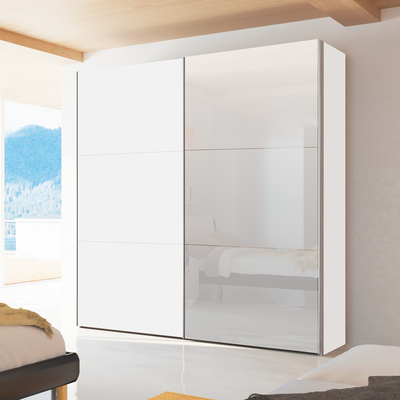 Click To Zoom Loft Two Door Sliding Wardrobe White Gloss With Mirror