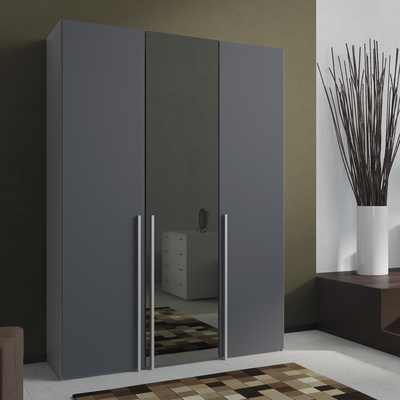 Loft Three Door Wardrobe Grey Glass With Mirror Dwell