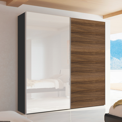 Click To Zoom Loft Two Door Sliding Wardrobe Walnut And Mirror