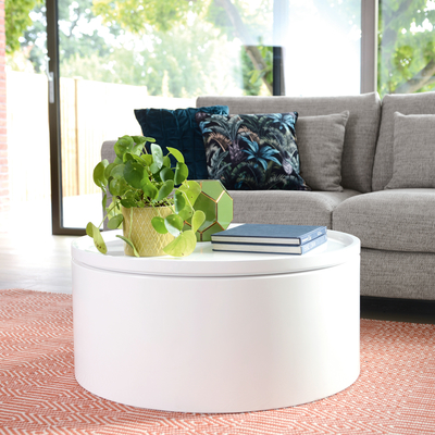 Drum lift coffee table white