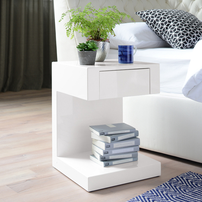 Seattle bedside table with drawer white
