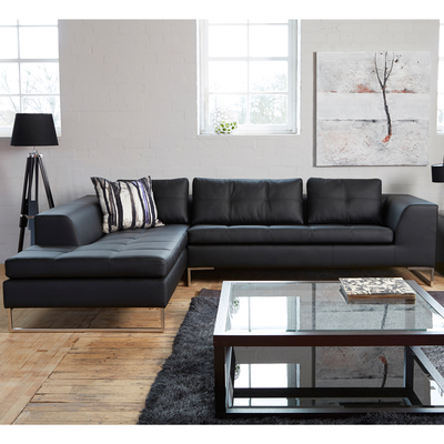 Vienna left hand corner sofa black