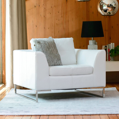 Vienna leather armchair white