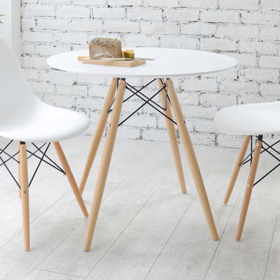 Eiffel dining table with beech legs small dwell - Table ronde avec chaises ...