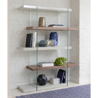 Treble tall shelving light grey and walnut