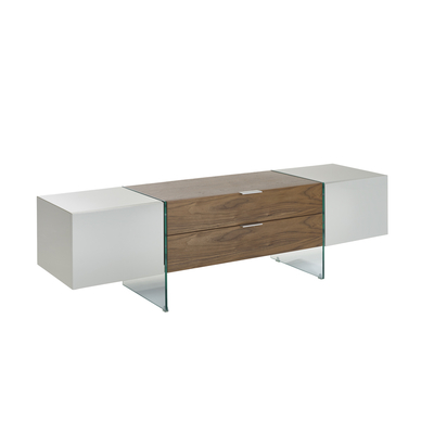 Treble TV unit light grey and walnut