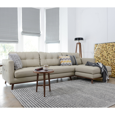 Marseille leather right hand corner sofa stone