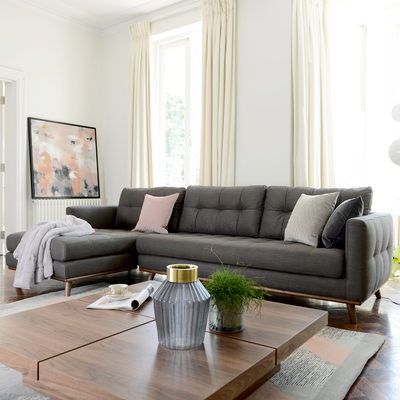 Marseille left hand corner sofa grey